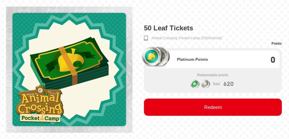 animal crossing pocket camp free leaf tickets
