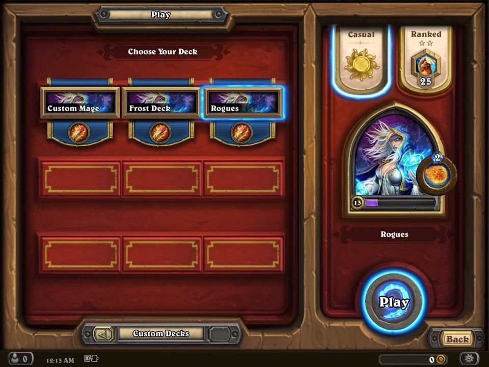 casual play hearthstone