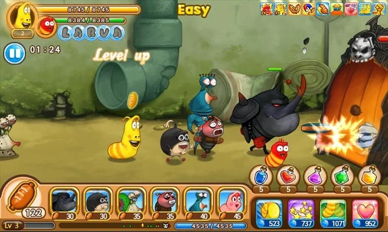Larva Heroes Lavengers in game