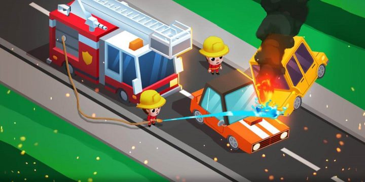 Idle Firefighter Tycoon MOD APK cover 720x360